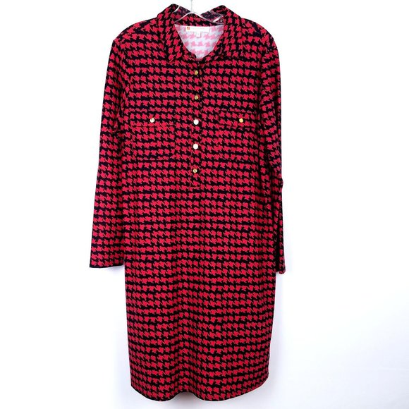 Jude Connally Dresses & Skirts - JUDE CONNALLY Long Sleeve Shift Dress Houndstooth